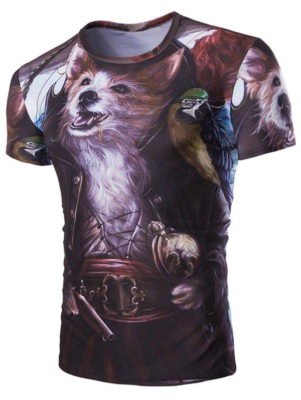 Casual Fox Printed Men's Short Sleeves T-Shirt - COLORMIX M