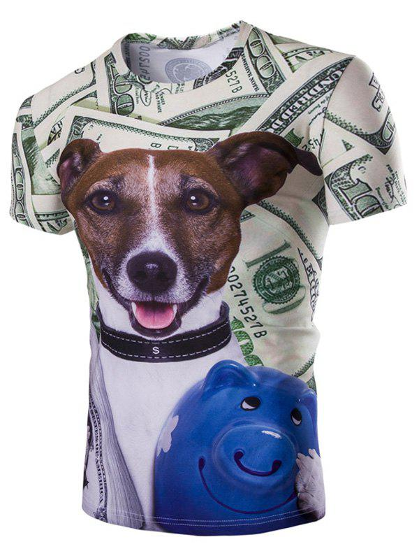 Casual Dog Printed Men's Short Sleeves T-Shirt - COLORMIX 2XL