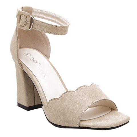 Graceful Suede and Chunky Heel Design Women's Sandals - APRICOT 37