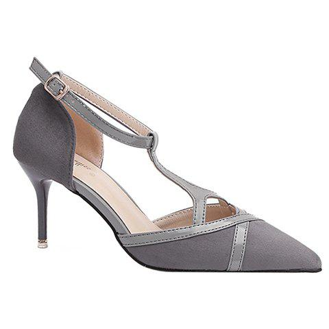Elegant T-Strap and Pointed Toe Design Women's Pumps - GRAY 36