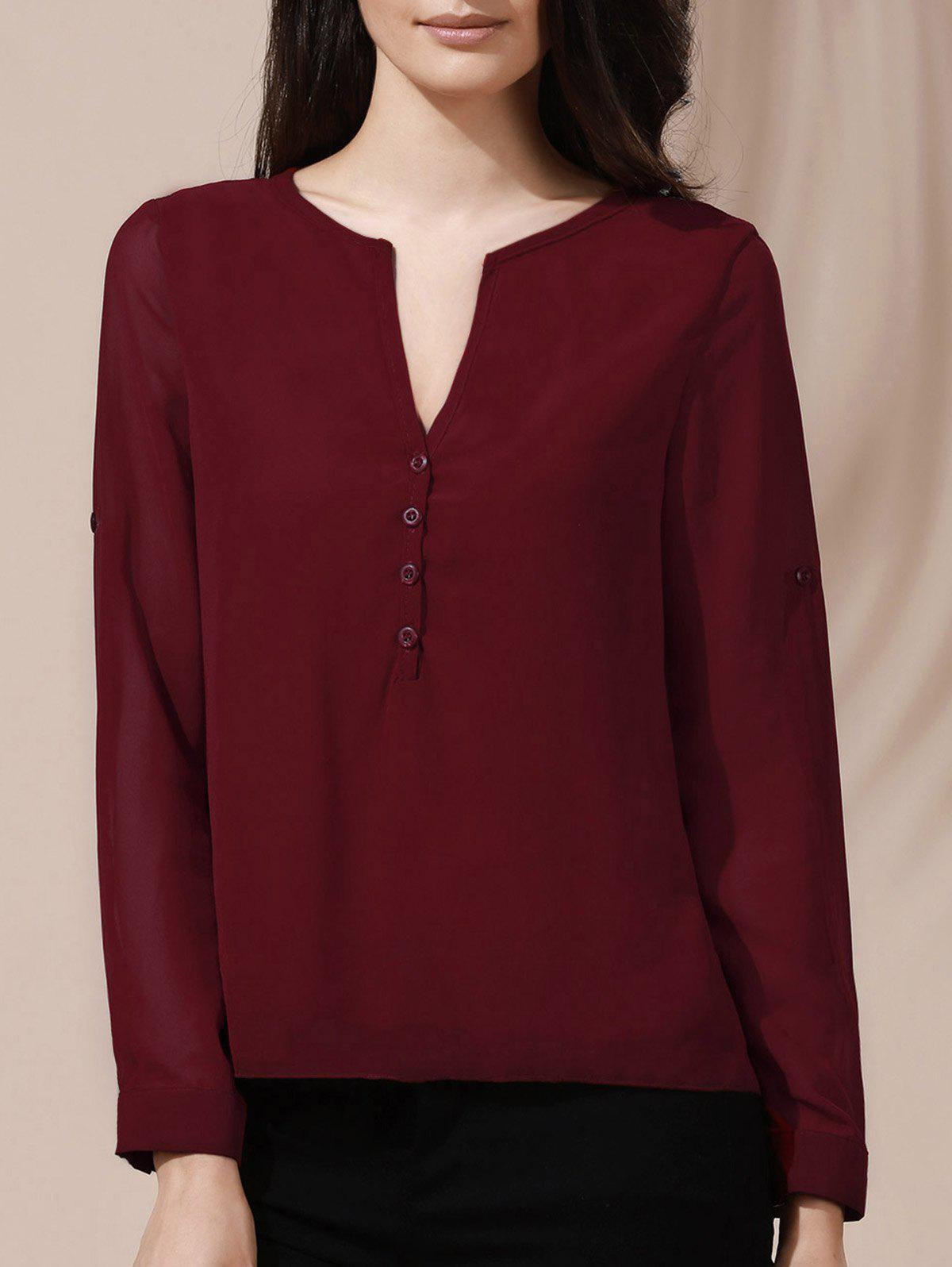 V-Neck Button Design Long Sleeve Blouse For Women - WINE RED L