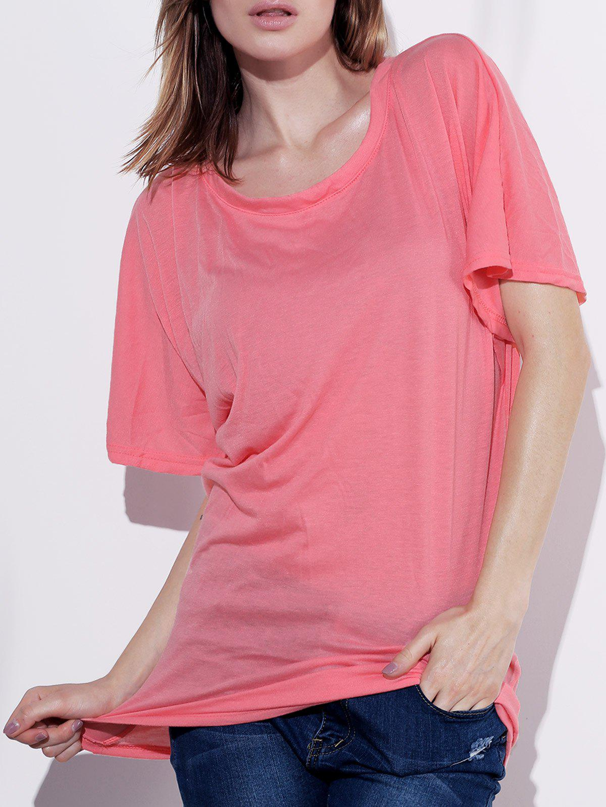 Stylish Boat Neck Short Sleeve Solid Color Women's T-Shirt - PINK XL