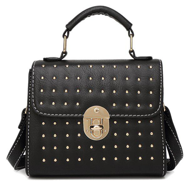 Fashion Solid Color and Rivets Design Women's Tote Bag - BLACK