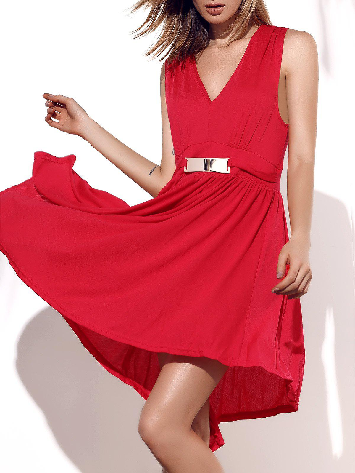 Graceful Sleeveless Plunging Neck Plus Size Asymmetrical Women's Dress - 2XL RED