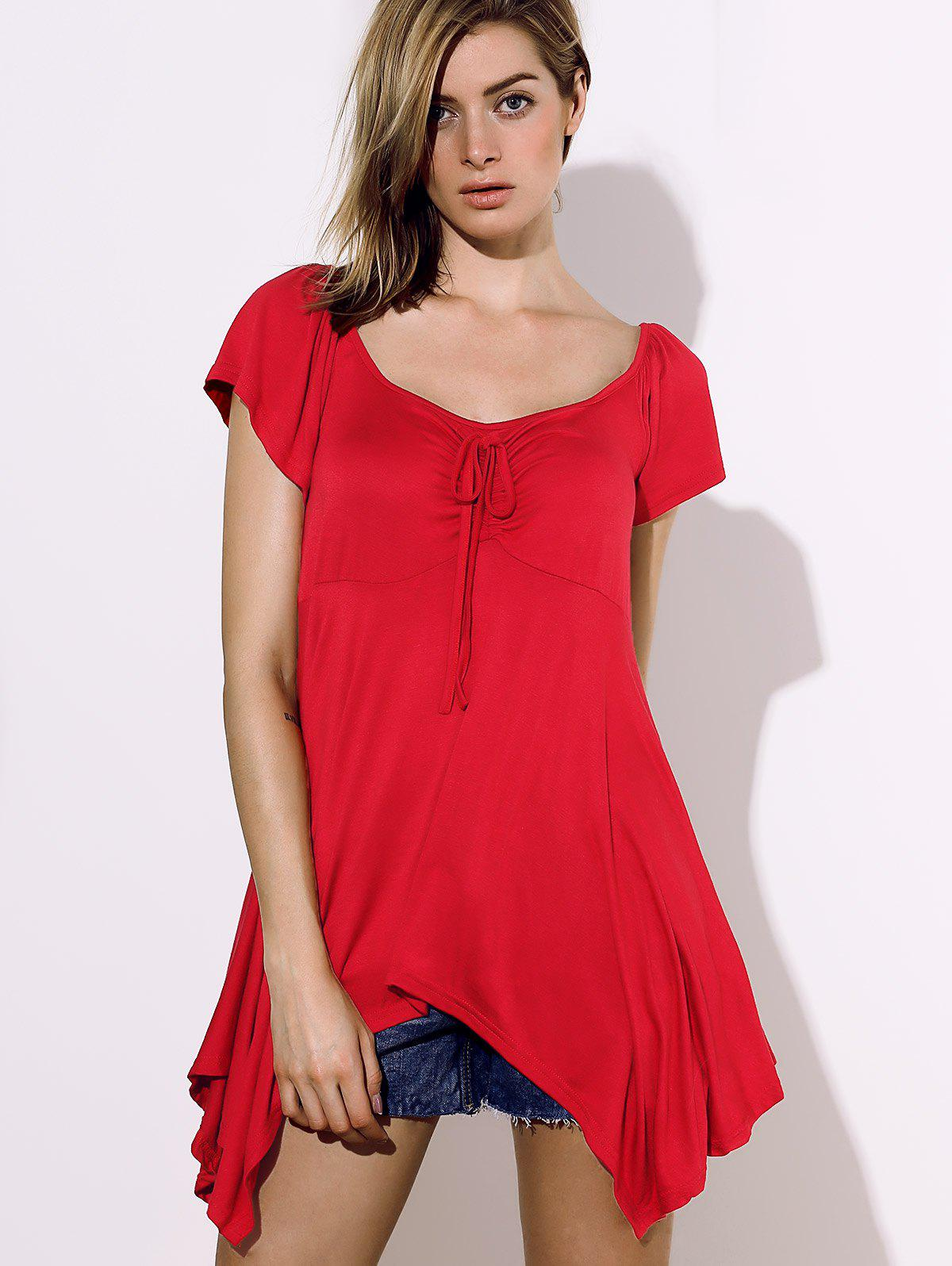 Stylish Square Neck Short Sleeve Asymmetrical Solid Color Women's Blouse