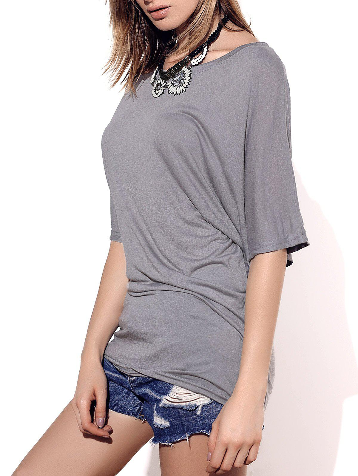 Stylish Boat Neck Short Sleeve Solid Color Women's T-Shirt - GRAY XL