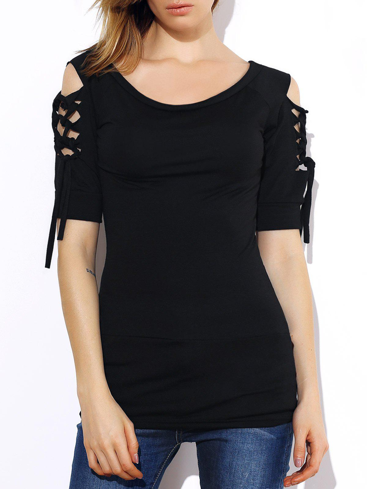 Fashionable Short Sleeve Scoop Neck Solid Color Lace-Up Hollow Out T-Shirt For Women - BLACK S