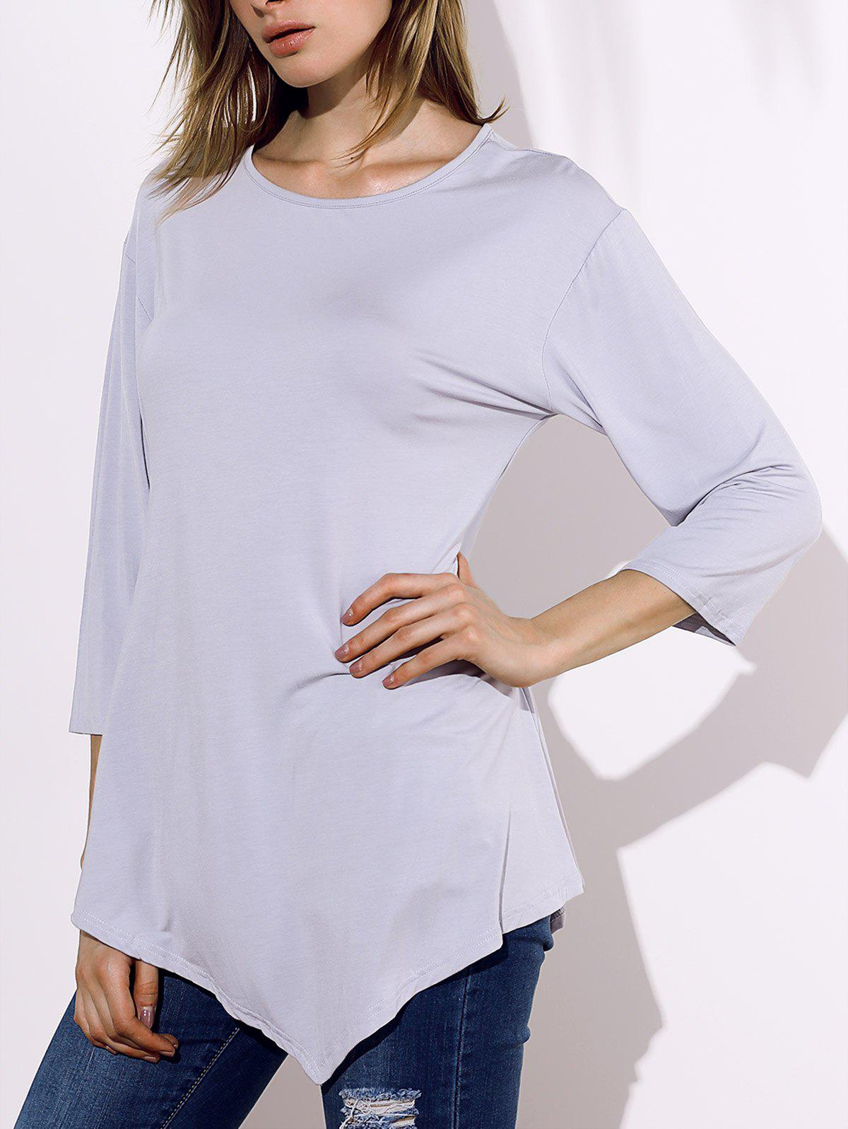Casual 3/4 Sleeve Round Collar Irregular Solid Color Women's T-Shirt