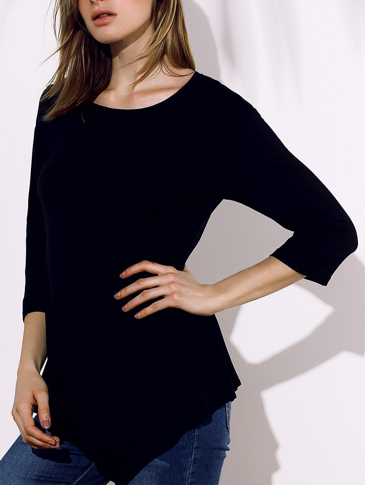Brief Style 3/4 Sleeve Round Collar Irregular Solid Color Women's T-Shirt - BLACK 5XL