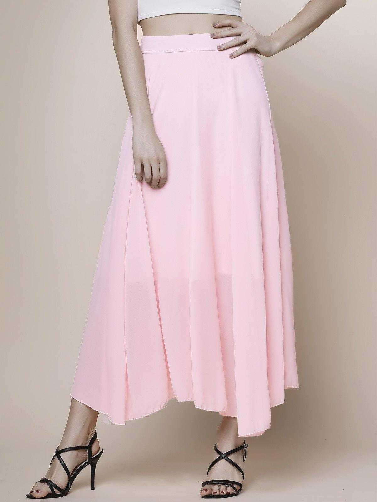 Women's High Waist Pink Chiffon Skirt