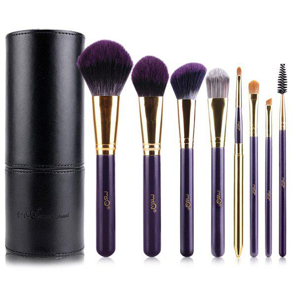 Professional 8 Pcs Bamboo Charcoal Fiber Makeup Brushes Set with Brush Holder - PURPLE