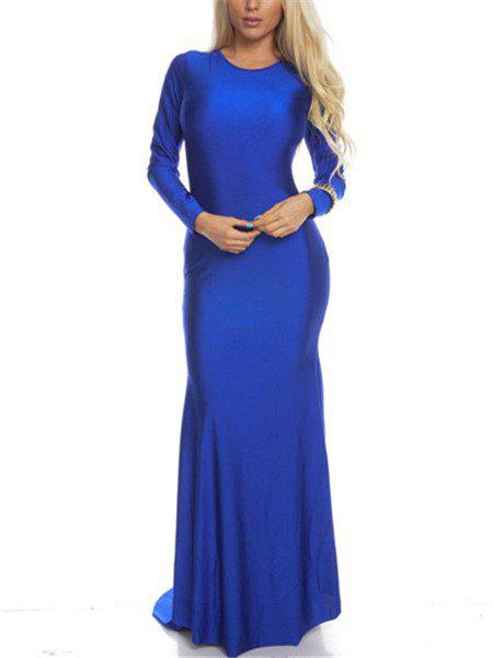 Women's   Round Collar Solid Color Backless Long Sleeve Maxi Dress - BLUE S