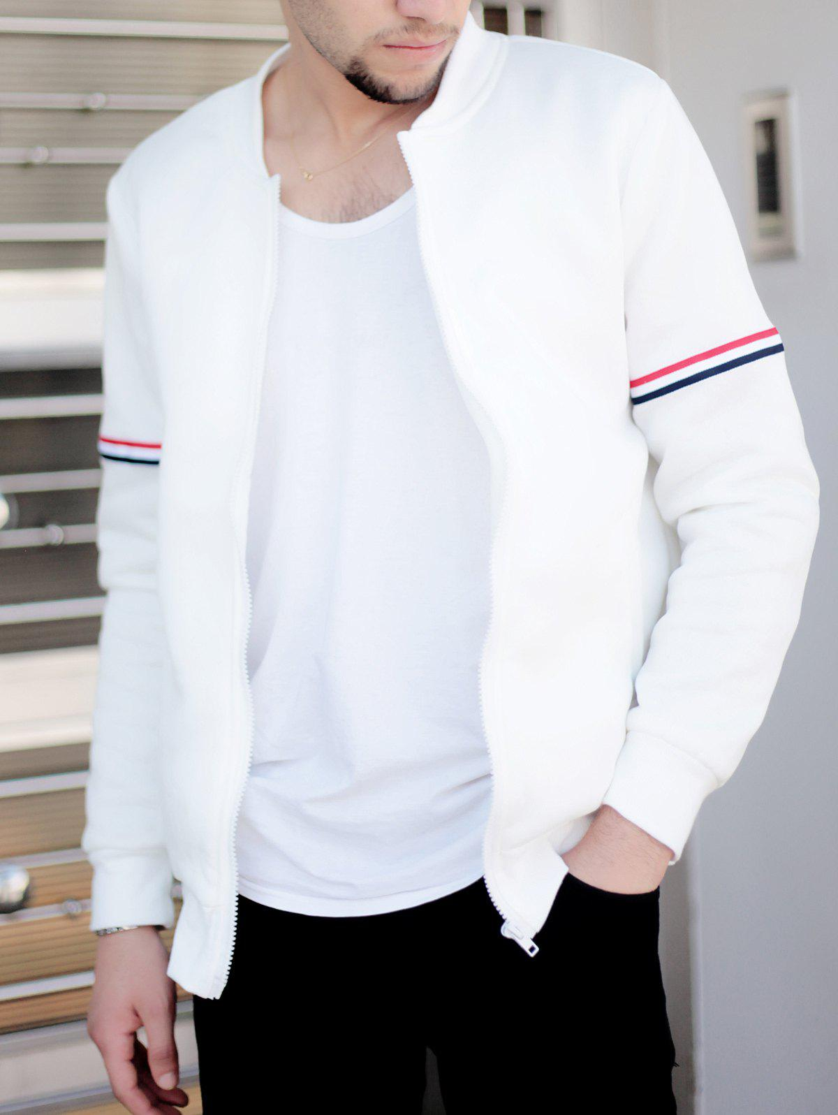 Casual Stand Collar Colorized Striped Taps Rib Spliced Long Sleeves Men's Slimming Jacket - WHITE M