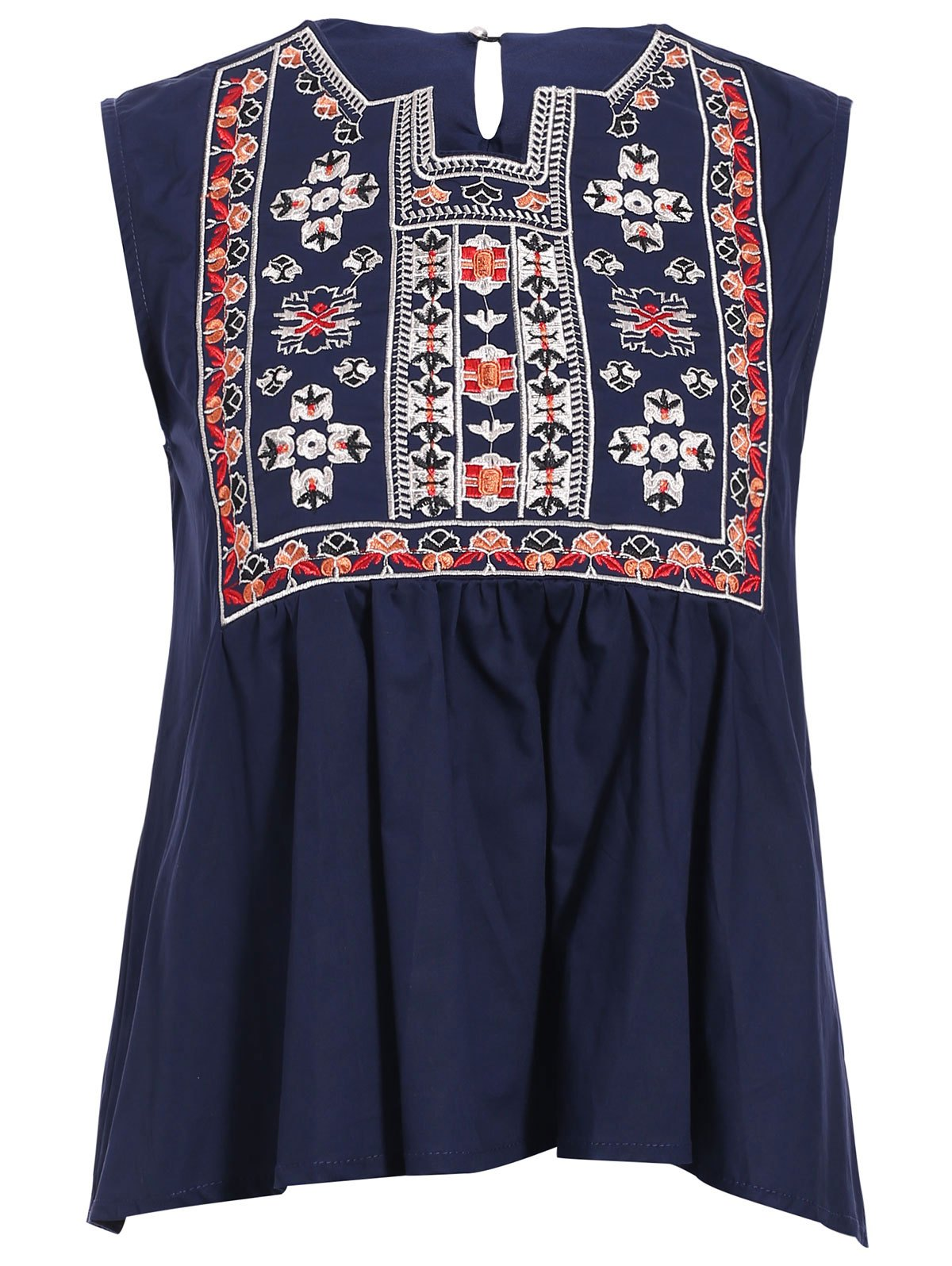 Trendy Notched Neck Asymmetrical Embroidered Women's Tank Top - PURPLISH BLUE ONE SIZE(FIT SIZE XS TO M)
