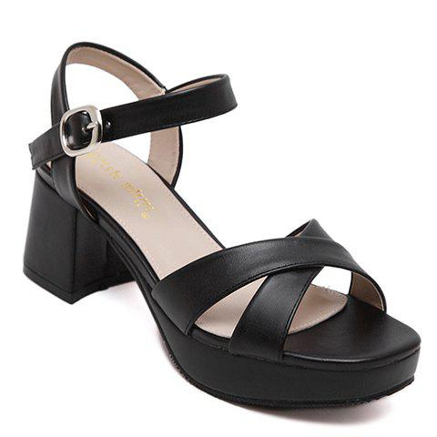 Fashionable Cross Straps and Chunky Heel Design Women's Sandals - BLACK 38
