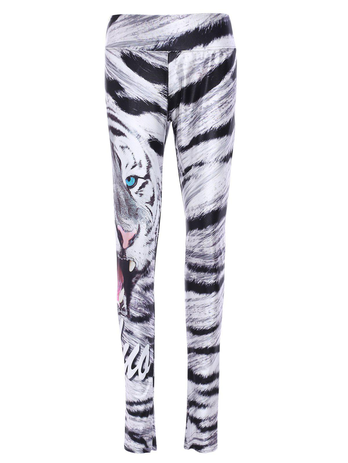 Fashionable Elastic Waist Slimming Tiger Print Women's Yoga Pants - COLORMIX ONE SIZE(FIT SIZE XS TO M)