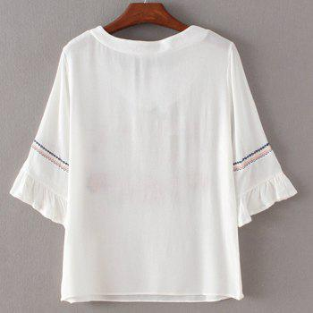 Trendy Embroidery Flare Sleeve Blouse For Women - WHITE WHITE