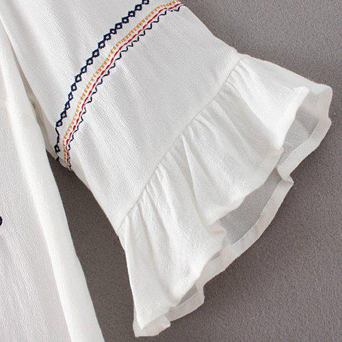 Trendy Embroidery Flare Sleeve Blouse For Women - WHITE L