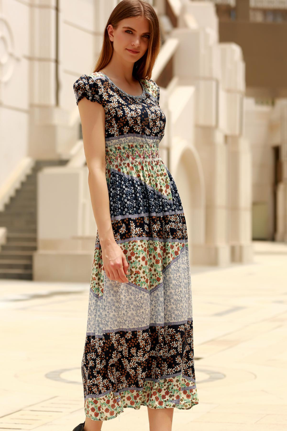 Trendy Short Sleeve Hit Color Geometrical Print Dress For Women - COLORMIX ONE SIZE(FIT SIZE XS TO M)