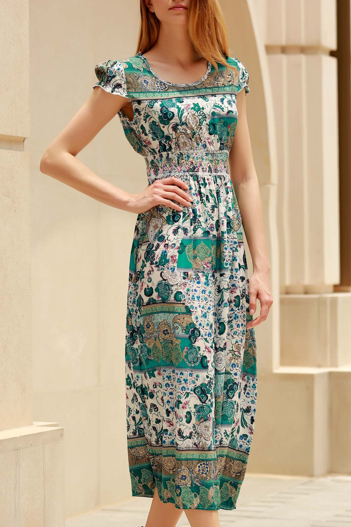 Trendy Cap Sleeve Ethnic Print Dress For Women - GREEN ONE SIZE(FIT SIZE XS TO M)
