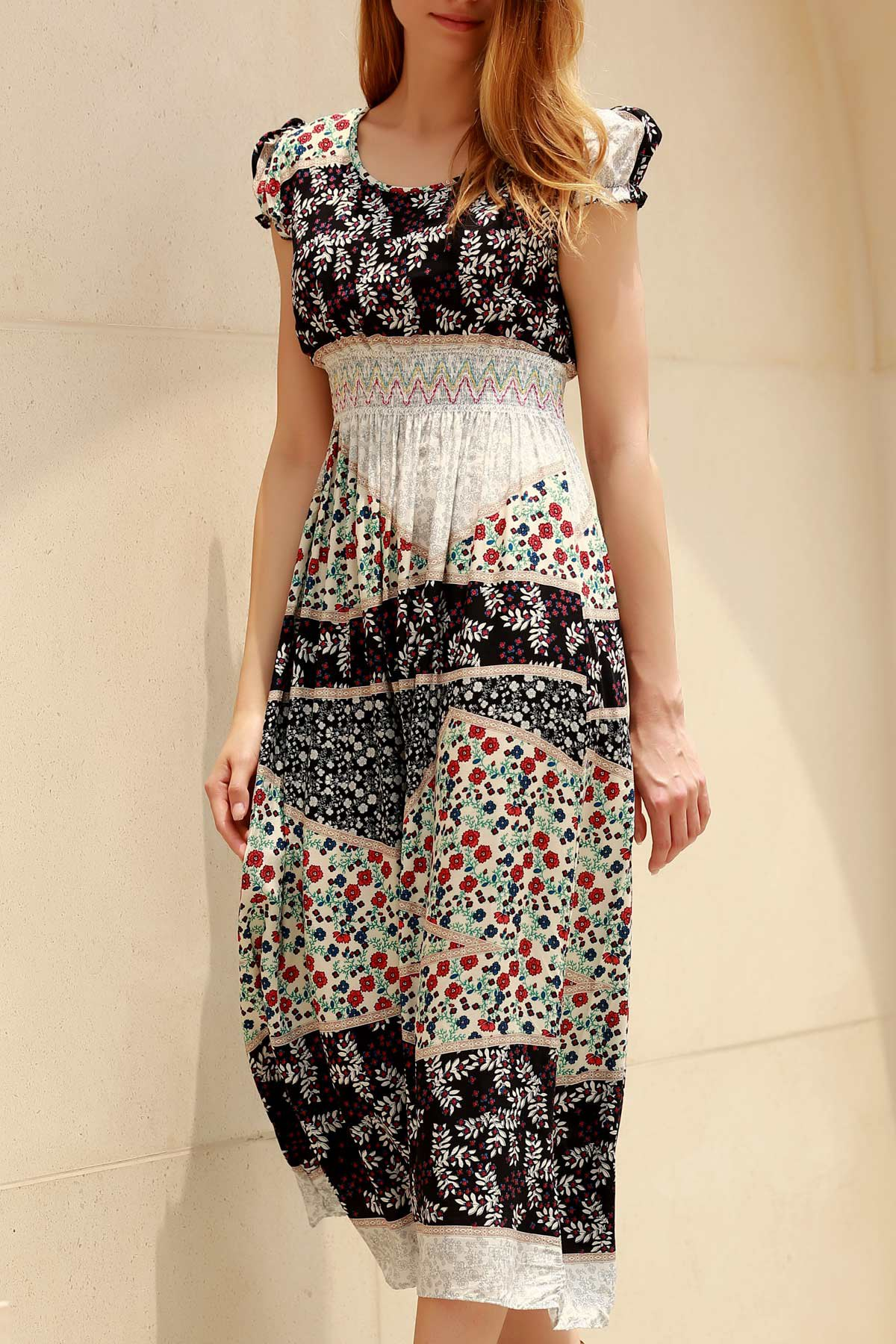 Chic Color Block Cap Sleeve Ethnic Print Midi Dress For Women - ONE SIZE(FIT SIZE XS TO M) COLORMIX