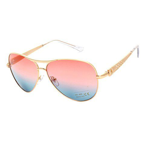 f954f537ee Chic Gradient Color Lenses Women Aviator s Golden Sunglasses - BLUE PINK