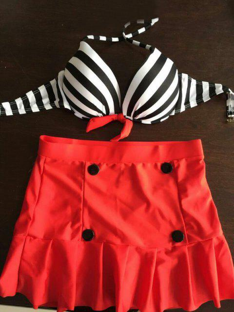 Sexy Women's Halter Neck Polka Striped Three-Piece Swimsuit - AS THE PICTURE L