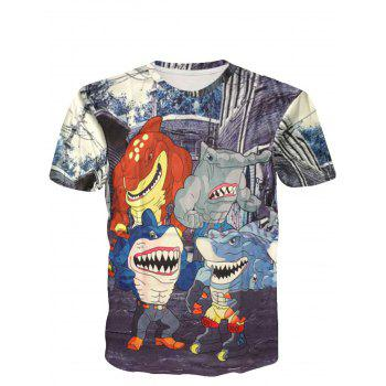 Amusing Round Neck 3D Cartoon Shark Man Short Sleeve Men's T-Shirt