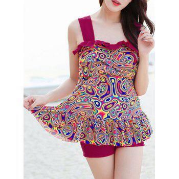 Chic Ruffled Printed Flounced Tank Top With Boxers Suit For Women