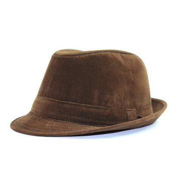 Stylish Men's Light Coffee Corduroy Jazz Hat