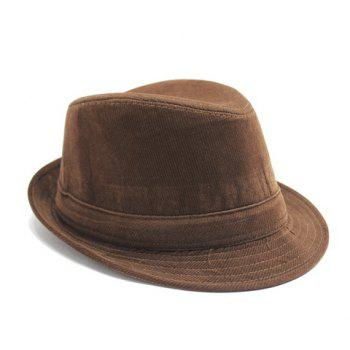 Stylish Men's Light Coffee Corduroy Jazz Hat - LIGHT COFFEE