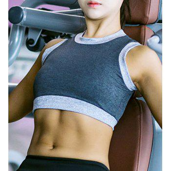 Casual Women's Round Neck Stretchy Color Patchwork Sports Bra - GRAY GRAY