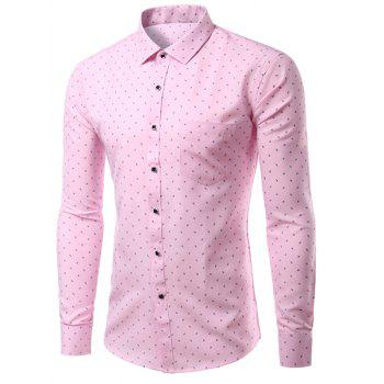 Fashion Men's Turn Down Collar Single Breasted Printing Shirt