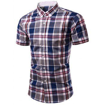 Fashion Men's Single Breasted Plaid Printing Shirt