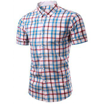 Casual Men's Single Breasted Plaid Printing Shirt