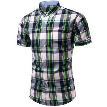 Casual Men's Single Breasted Checked Printing Shirt