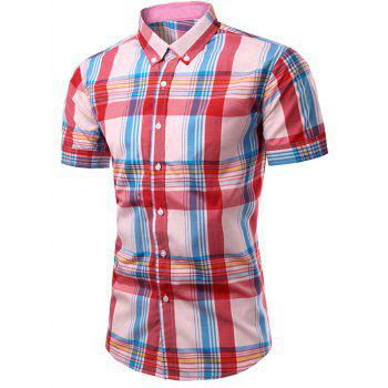 Men's Fashion Checked Printing Single Breasted Shirt