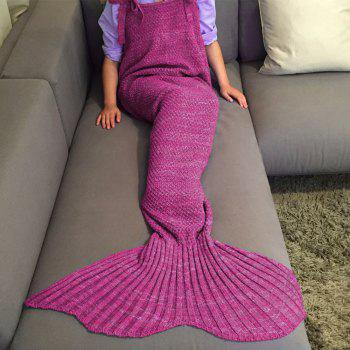 High Quality Drawstring Style Knitted Mermaid Design Sleeping Bag Blanket -  ROSE