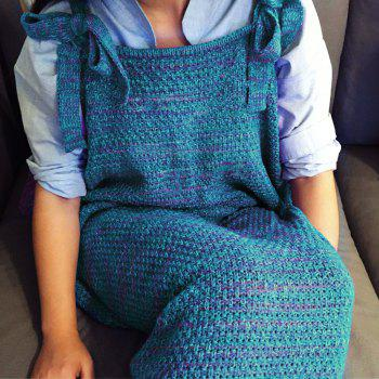 High Quality Drawstring Style Knitted Mermaid Design Sleeping Bag Blanket -  BLUE/RED