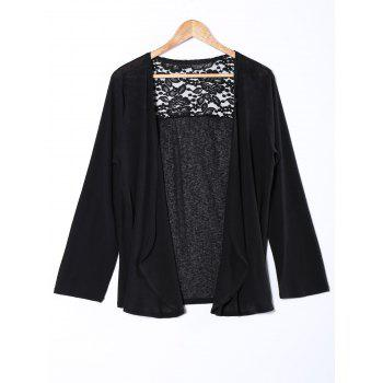 Style Plus Size Lace Insert Cardigan