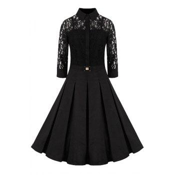Elegant Women's Shirt Collar 3/4 Sleeves Solid Color Lace Dress