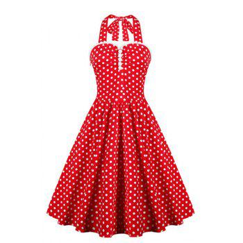 Retro Style Women's Ruffled Polka Dot Halter Dress