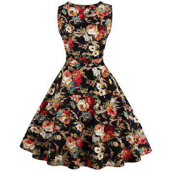 Stunning Women's Jewel Neck Sleeveless Floral Print Dress
