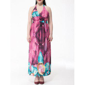 Plus Size Floral Print Halter Neck Women's Dress