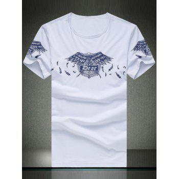 Round Neck Plus Size Stylish Skull and Feathers Print Short Sleeve Men's T-Shirt
