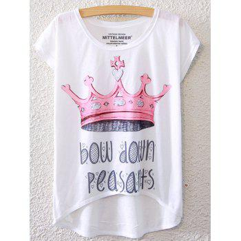 Chic Crown Pattern Short Sleeve T-Shirt For Women
