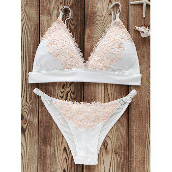 Trendy Lace Spliced Plunging Neck Bikini Suit Swimwear For Women