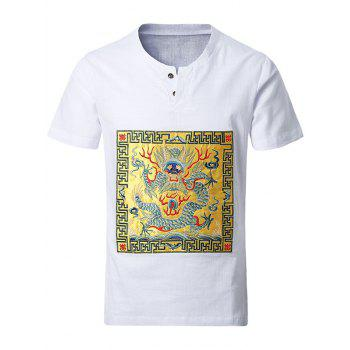 Chinese Style Round Neck Gorgerous Dragon Embroidered Design Men's Short Sleeve T-Shirt