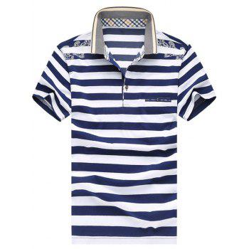 Men's Casual Plus Size Short Sleeves Striped Printed T-Shirt