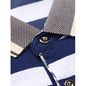 Men's Casual Plus Size Short Sleeves Striped Printed T-Shirt - CADETBLUE 2XL